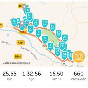 Vandaag voor het eerst sinds lange tijd weer een eind gefietst. Iets meer dan 25 km niet slecht gedaan.