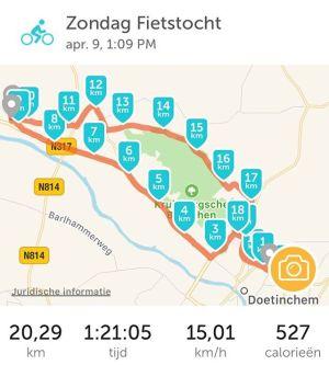 Mijn fietstocht van vandaag