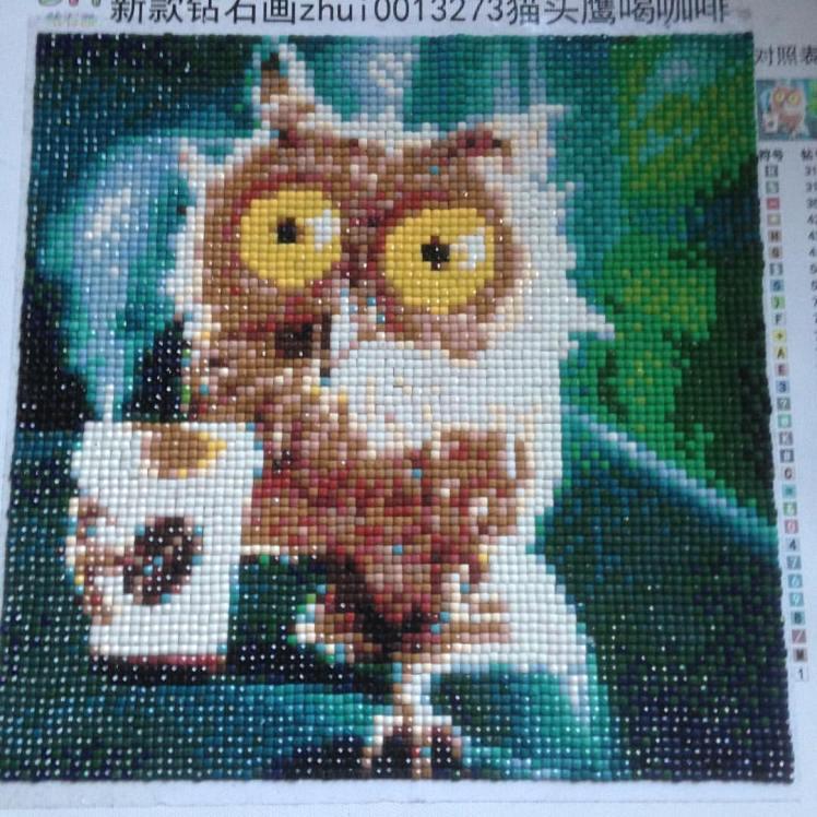 Owl with coffeecup #diamondpainting #aliexpress @diamondpaintingclub